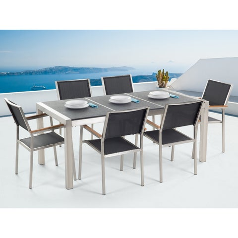 Patio Dining Set for 6 - Black Table and Black Chairs GROSSETO