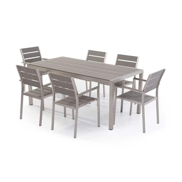 Gray Aluminum Patio Dining Set