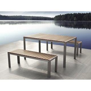 Beliani Nardo Brown Aluminum Dining Set With Benches
