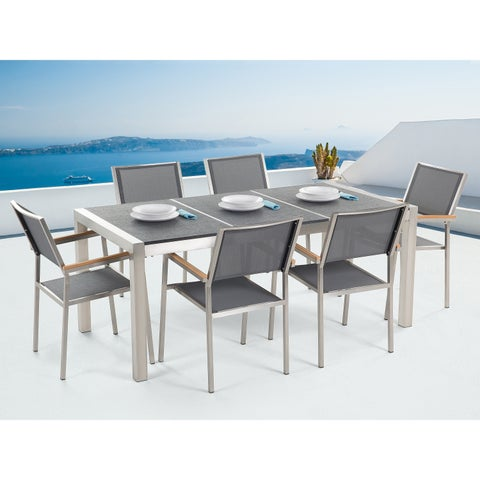 Patio Dining Set for 6 - Triple Black Table and Gray Chairs GROSSETO