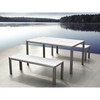 Aluminum Dining Set with Benches - White NARDO|https://ak1.ostkcdn.com/images/products/18574451/P24677144.jpg?impolicy=medium