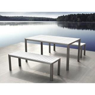 Aluminum Dining Set With Benches   White NARDO