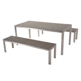 Aluminum Dining Set with Benches - Grey NARDO|https://ak1.ostkcdn.com/images/products/18574454/P24677147.jpg?impolicy=medium