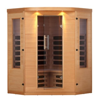 Aspen 4-Person FIR Corner Sauna with 7 Carbon Far Infrared Heaters
