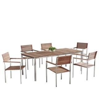 Beliani Viareggio Teak/Stainless Steel Patio Dining Set
