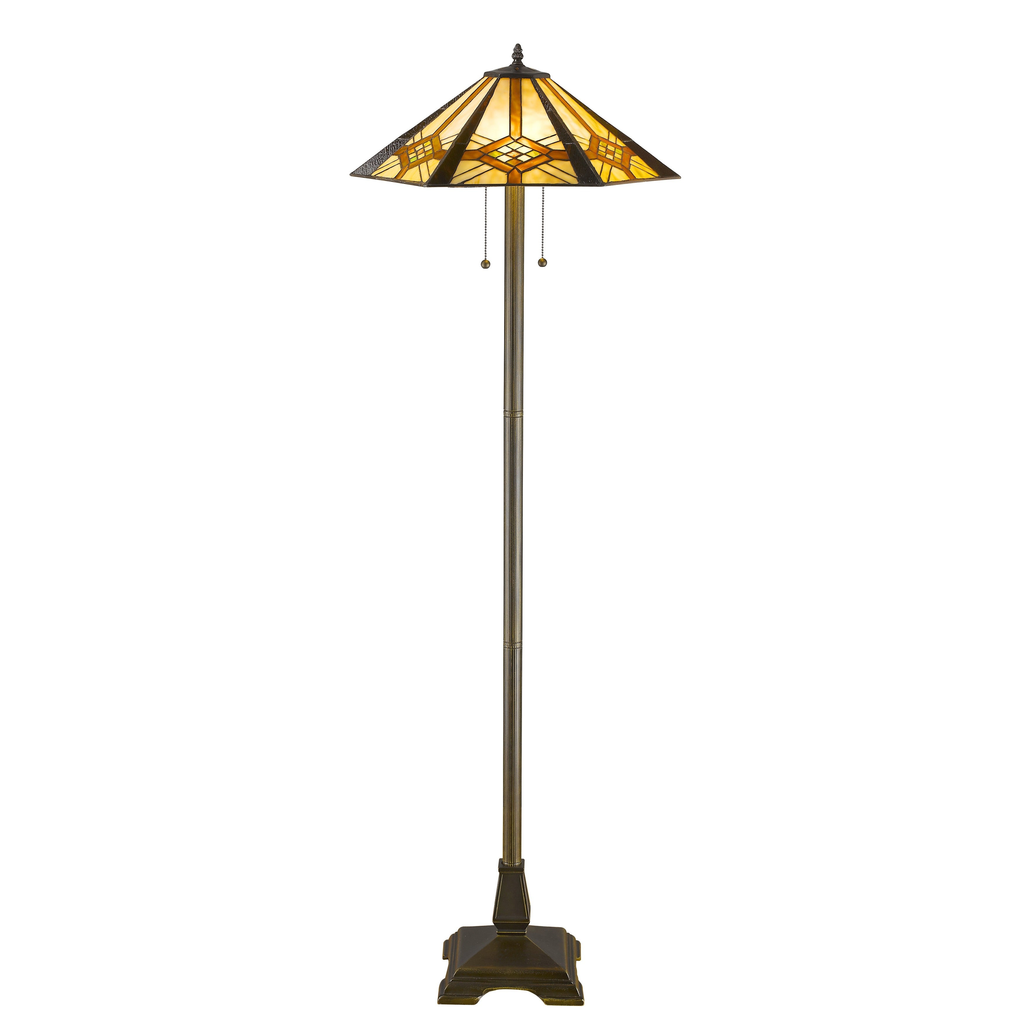 Tiffany-style Hex Mission Floor Lamp, Yellow (Bronze)