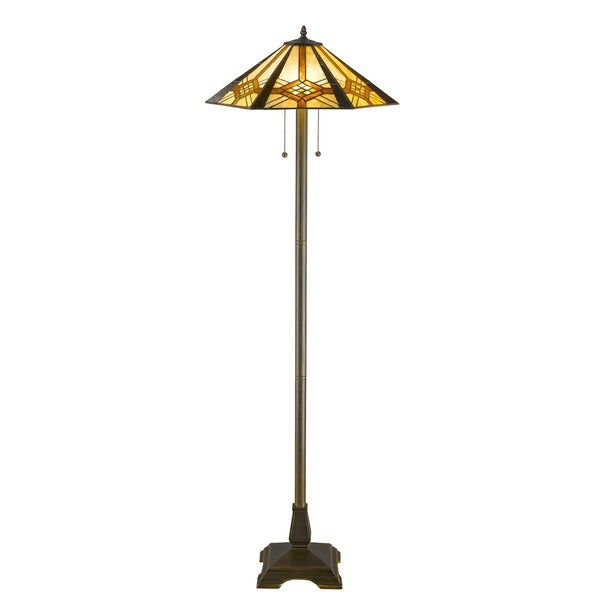 Tiffany Style Hex Mission Floor Lamp
