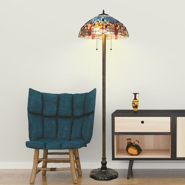 Tiffany Style Blue Dragonfly Floor Lamp