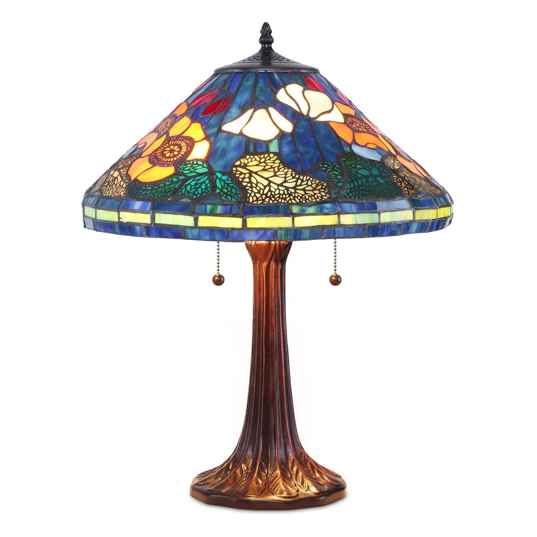 Tiffany-style Golden Poppy Table Lamp, Multi (Bronze)