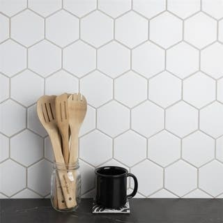 SomerTile 10.875x11.375-inch Victorian Super Hex Matte White Porcelain Mosaic Floor and Wall Tile (10/Case, 8.78 sqft.)|https://ak1.ostkcdn.com/images/products/18581654/P24677251.jpg?impolicy=medium