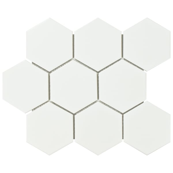 SomerTile 10x11.5-inch Victorian Super Hex Matte White Porcelain Mosaic Floor and Wall Tile (10 tiles/8.17 sqft.)
