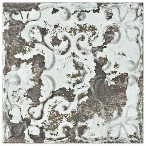 SomerTile 7.875x7.875-inch Aeon Dark Ornato Ceramic Wall Tile