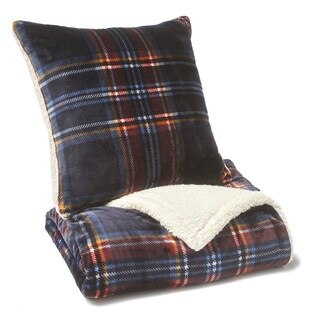 "Vellux Mackenzie Plush 20"" Square Navy Decorative Pillow"