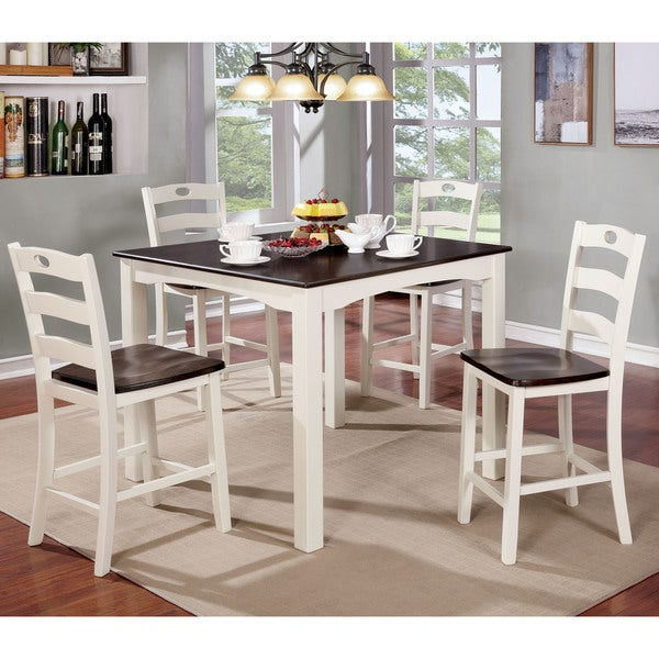 Maison Rouge Eliza Cottage Style 5 Piece Two Tone Counter Height Dining Set