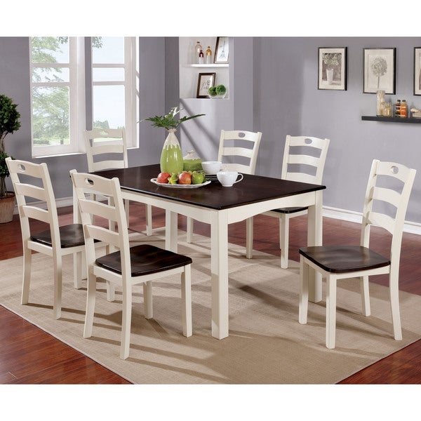 Furniture Of America Bellorama Cottage Style 7 Piece Two Tone Dining Set