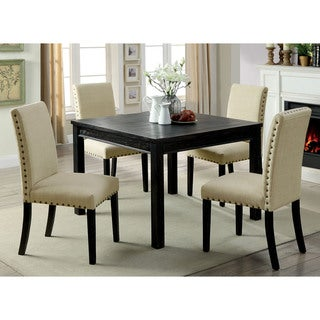 Furniture of America Pave Rustic Black Solid Wood 5-piece Dining Set