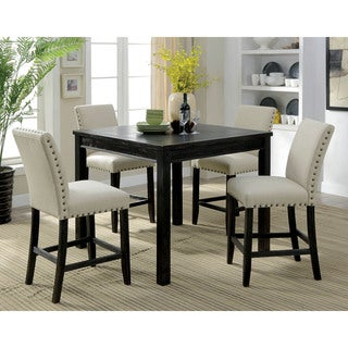 Furniture of America Delewarn Rustic 5-piece Antique Black Counter Height Dining Set