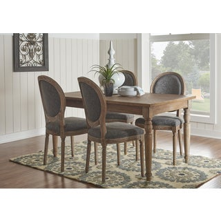 Linon Sartan Dark Natural Brown Wood Dining Table