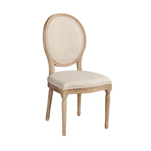 Linon Daphne Natural Brown Elm Wood/ Linen Oval Back Chair (Set of 2)