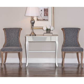 Link to Linon Branson Natural Wood Charcoal Fabric Upholstered Flared-back Chair (Set of 2) Similar Items in Dining Room & Bar Furniture