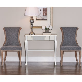 Linon Branson Natural Wood Charcoal Fabric Upholstered Flared-back Chair (Set of 2)