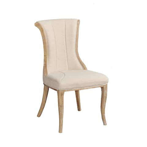 Linon Branson Wood/Linen Flared Back Accent Chairs (Set of 2)