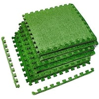 Interlocking Floor Mat - With Grass, 6 Pieces
