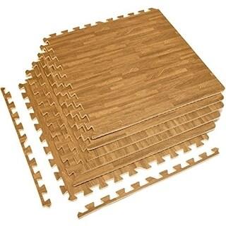 Interlocking Floor Mat - Light Wood Grain Print, 6 Pieces