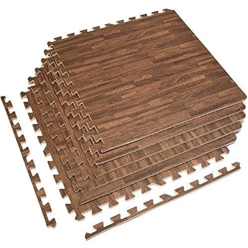 Interlocking Floor Mat - Dark Wood Grain Print, 6 Pieces,...