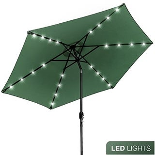 Sorbus® Solar LED Outdoor Umbrella, 10 ft Patio Umbrella with Tilt Adjustment and Crank Lift Handle