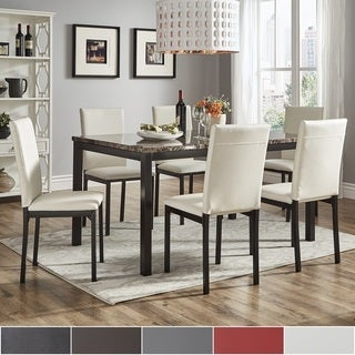 Darcy 60-inch Faux Marble Top Black Metal Dining Set by iNSPIRE Q Bold