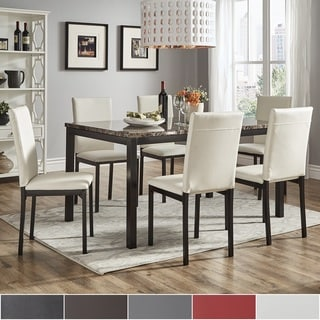 Darcy 60 Inch Faux Marble Top Black Metal Dining Set By INSPIRE Q Bold