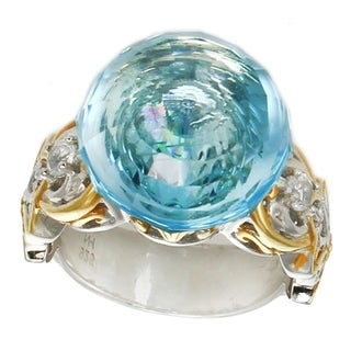Michael Valitutti Palladium Silver Swiss Blue Topaz Floating Solitaire Ring