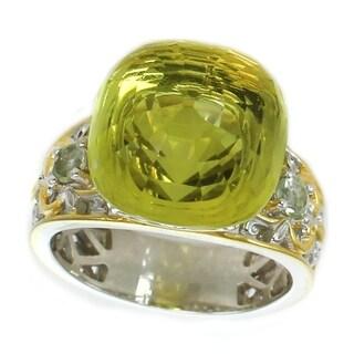 Michael Valitutti Palladium Silver Ouro Verde & Prasiolite Floating Solitaire Ring