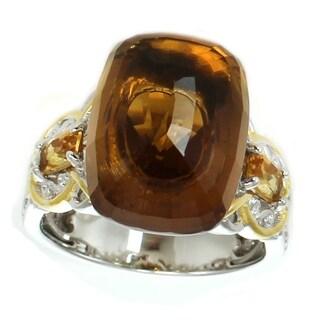 Michael Valitutti Palladium Silver Cognac Quartz & Citrine Floating Solitaire Ring