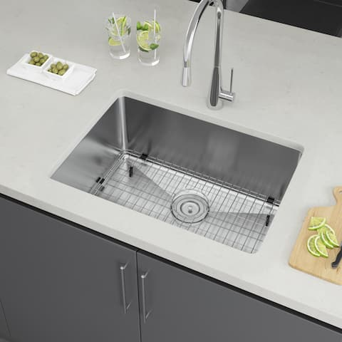 "Exclusive Heritage 25"" x 18"" Single Bowl Undermount Stainless Steel Kitchen Sink with Strainer and Grid"