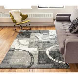 Well Woven Splatter Grey Modern Geometric Area Rug - 5'3 x 7'3
