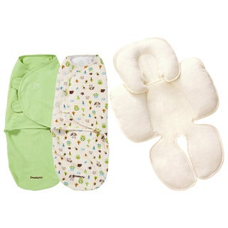 Summer Infant Kiddopotmaus SwaddleMe 2 Pack with Terry Snuzzler Head Body Support, Large, Woodland
