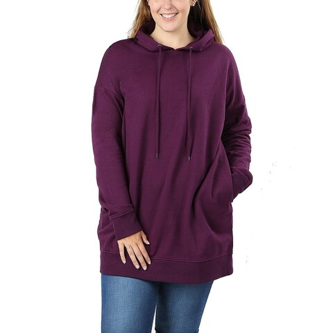 JED Women's Plus Size Comfy Fit Hoodie Tunic Sweatshirt