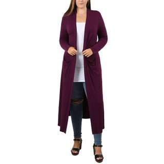 JED Women's Plus Size Maxi Cardigan with Pockets