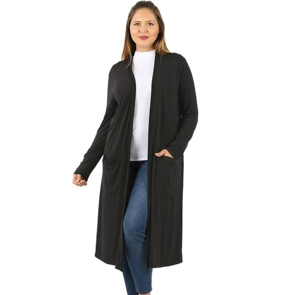 JED Women's Plus Size Knee Length Solid Cardigan with Pockets