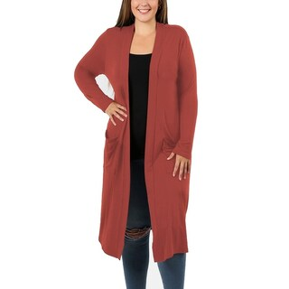 JED Women's Plus Size Knee Length Solid Cardigan with Pockets (Option: 2Xl - RUST)