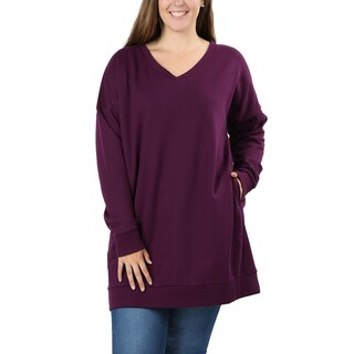 JED Women's Plus Size Comfy Fit V-Neck Tunic Sweatshirt