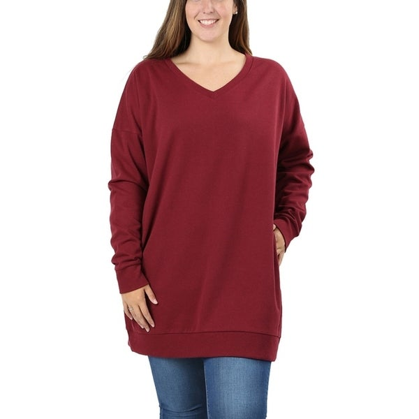 dbeca235dbb Shop JED Women's Plus Size Comfy Fit V-Neck Tunic Sweatshirt - On ...