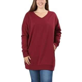 JED Women's Plus Size Comfy Fit V-Neck Tunic Sweatshirt|https://ak1.ostkcdn.com/images/products/18588611/P24690018.jpg?impolicy=medium