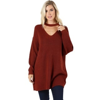 JED Women's Oversized Choker Tunic Sweater Top