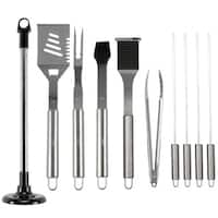 Cheer Collection 10 Piece Stainless Steel  BBQ Set with Carousel