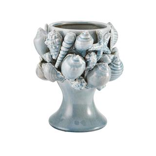 Elements 9 x 10 Inch Aqua Seashell Ceramic Vase