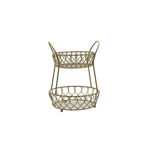 Mikasa Gourmet Basics Loop And Lattice 2 Tier Round Basket