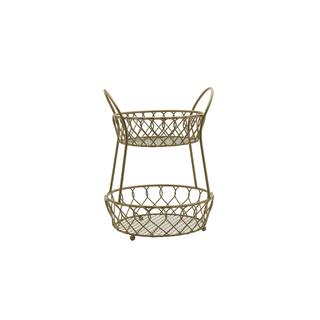 Mikasa Gourmet Basics Gold Loop And Lattice 2 Tier Round Basket